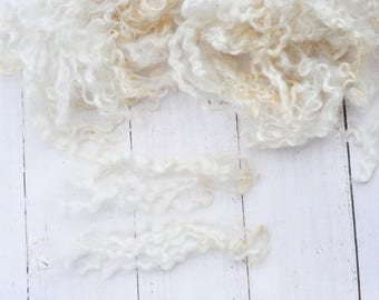 Natural White Cotswold Locks - Washed - Curly, Wavy - Art Fiber - 2.8 Ounces