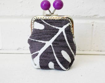 Ultraviolet Purple Monstera Large Wide-base Kisslock Coin Purse Card holder. Upcycled. One of a kind.