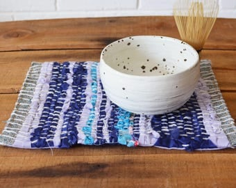 Woven mug rug, snack mat, placemat, table decoration. Hand woven. October Minimum Blue and Purple