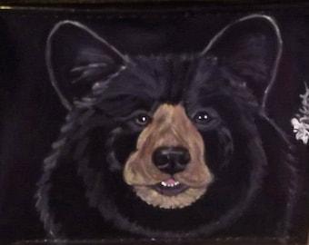 Black Bear Custom Hand Painted Leather Checkbook Cover Checkbook Holder