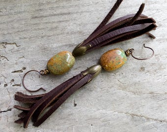 Leather Fringe Natural Turquoise Stone | Long Funky Hippie Earthy Organic | Woodland Wedding | Cowgirl Earrings | Jewelry For Her Under 25