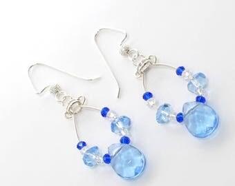 Blue Dangle Earrings Tiny Blue Dancer  - Blue Earrings - Light Blue Dangle Earrings - Gift for Her - Earrings Gift  - Crystal Earrings