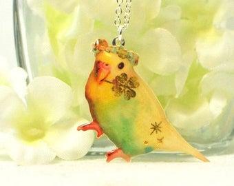 Budgie Pendant Lucky - Parakeet Necklace - Bird Jewelry - Yellow Parakeet Jewelry - Budgie Necklace - Bird Lover Gift - Budgerigar Pendant