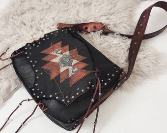 Black Patchwork and Python Reclaimed Leather Bag