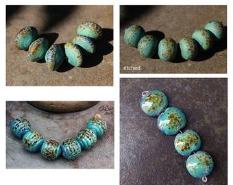 Terrapin - Handmade Lampwork Glass Beads - SRA Elasia - MTO - Choose shape and finish, Round, Lentil, Labyrinth, Bicone