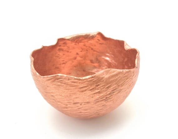 Handforged raised copper offering bowl, textured and highlighted