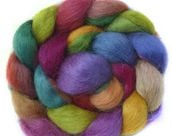 WENSLEYDALE roving top handdyed spinning fibre 3.7 oz