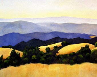 Spectacular Golden Hills Classic California Landscape 8x10 Print of Original Painting