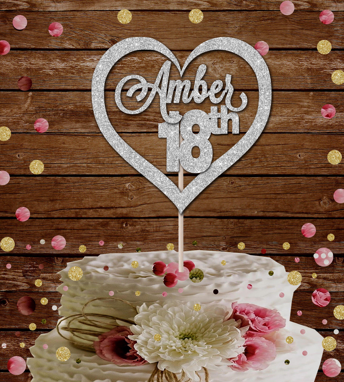 Heart Custom Name 18th Birthday Glitter Cake Topper Party Decoration