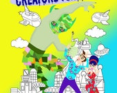 Creature Features an Adult Scifi Coloring book Instant download PDF