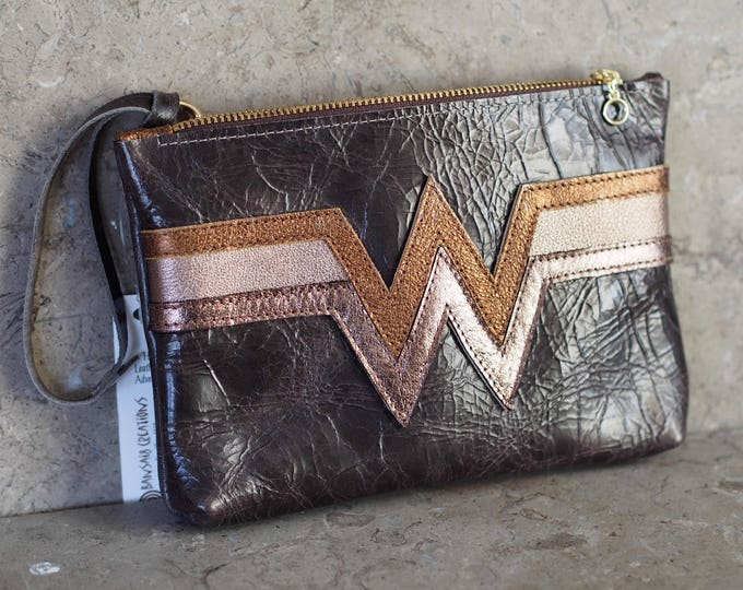 Wonder Woman Antiqued inspired leather wristlet pouch