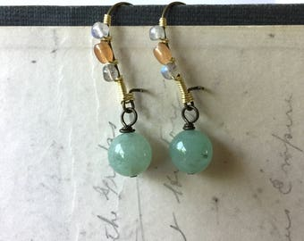 Green Aventurine wrapped stone earrings. Natural stone jewelry by Anne More Jewelry