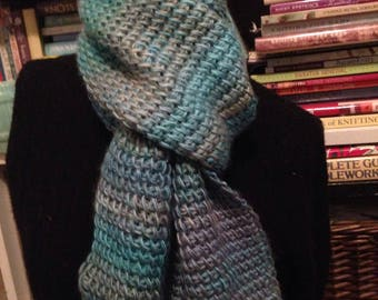 Multi-Color Textured Scarf, Aqua, Blue, Lilac Knitted Scarf