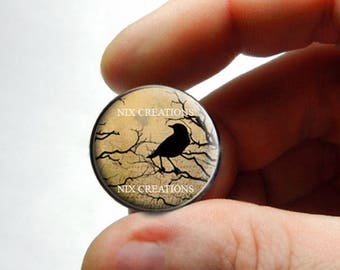 Glass Cabochon - Raven Design 3 - for Jewelry and Pendant Making