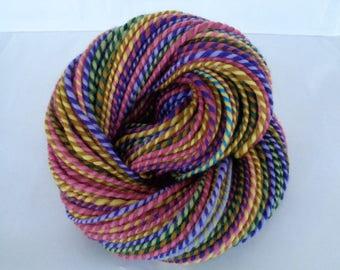 Handspun merino yarn, self striping yarn, bulky yarn, chunky yarn, dolls hair, purple, pink, green, yellow, BEST FRIENDS, 4.4oz, 120yds