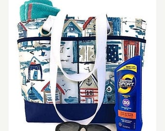 SALE large beach bag, tote, Beach cabana, beach house, navy blue, travel tote, waterproof, vacation bag, gift for women, gift for mom