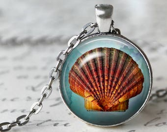 Scallop Shell Pendant, Necklace or Key Chain - Summer, Beach - Choice of Silver, Copper, Bronze or Black