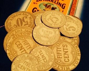 SALE 4pcs TOY PAPER Coins Antique Vintage Paper Ephemera Gorgeous Design