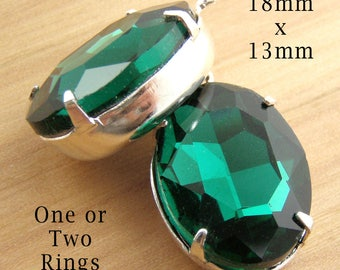 Emerald Green Glass Beads - 18x13 Oval Pendant or Earring Jewels - Rhinestone Glass Gems - Jewelry Supply - One Pair