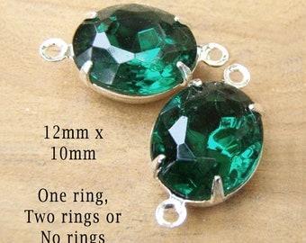 Emerald Green Vintage Glass Beads - 12x10 Oval - Rhinestone Glass Gems - 12mm x 10mm - Set Stones - Jewelry Supplies - One Pair