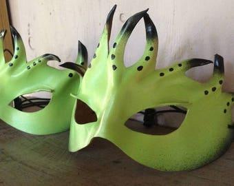 Glow in the Dark Alien, Alien Sci-Fi, Cosplay mask, leather mask by faerywhere masks