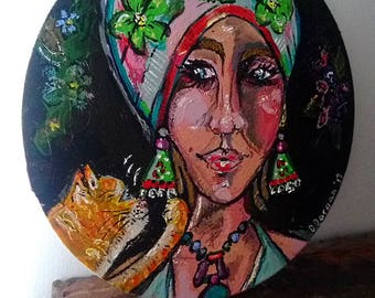 That Cat, Original Painting, Ginger Cat, Flowers, Portrait, Woman, Boho Hat, Tam, Textured, Bohemian, Art, Wall Art, Home Decor