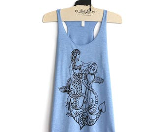 XL -Tri-Blend Light Blue Racerback Tank with Mermaid Anchor Screen Print