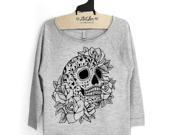 SALE XL Heather Gray Raw-Edge 3/4-Sleeve Raglan with Sugar Skull Screen Print
