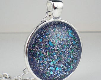 SUMMER SALE Aqua Lavender Glitter Confetti Nail Polish Necklace Jewelry Nail Polish Jewelry