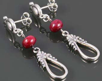Ruby Drop Earrings. Sterling Silver. Teardrop Ear Posts. Genuine Ruby. July Birthstone. s17e098