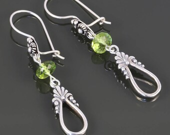 Peridot Drop Earrings. Sterling Silver. Genuine Gemstone. August Birthstone. Latch Back Ear Wires. f17e005