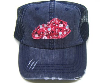 Kentucky Hat - Navy Blue Distressed Trucker Hat - Red Floral Applique - All States Available