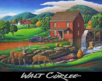 Oil Painting, Original Rural Appalachian Grist Mill Country Farm Autumn Landscape, Fall Folk Art Americana, American