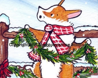 "PEMBROKE WELSH CORGI  Art Print Corgi Christmas Corgi Art Print ""Christmas is Coming""  Dog Art Dog Lovers Gift Holiday Print Christmas Holly"