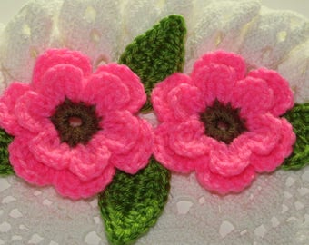 """2 Large (3"""") Two Tone Crocheted Flowers  & Leaves - BRIGHT PINK"""