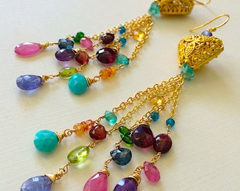 Gemstone Confetti Multi Gem Elegance Duster Earrings