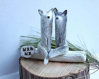 Grooms Cake Topper - Arctic Fox and Wolf Wedding cake topper - Woodland Cake Topper - Mrs and Mrs - Rustic Cake Topper -MADE TO ORDER