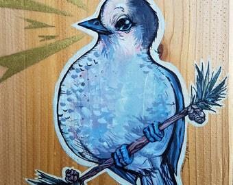 L'il Lard Butt Series - Cedar Gray Jay painting - the Mountain Fairy