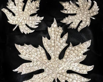 Ora, rhinestones earrings brooch set.  Maple grape leaf.