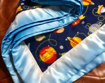 BABY BLANKET Soft, Flannel, Handmade Satin Binding Reversible with Planets and Space Ships