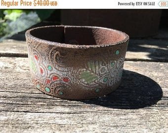 40% OFF- Embossed Leather Cuff-Create Your Own-Hand Painted Floral Leather-Word Cuff