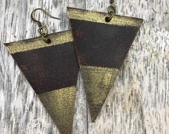 Painted Leather Earrings--Triangles-Boho Earrings-Mini Canvas-Gold