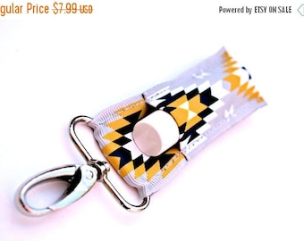 ON SALE Grey with Navy and Yellow Aztec LippyClip™ Lip Balm Holder for Chapstick,  Clip-On Keychain