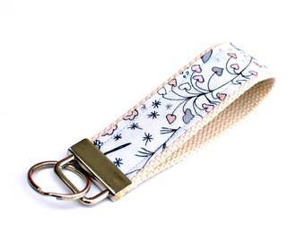 Keychain Wristlet with Designer Fabric, Pink and Grey Hearts
