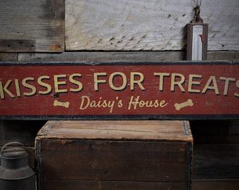 Kisses For Treats Sign, Dog Bone Decor, Pet Treats Sign, Custom Pet Lover Gift, Dog Decor, Rustic HandMade Vintage Wooden Sign ENS1001868