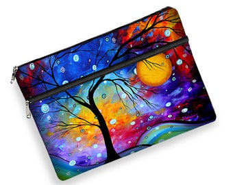 "MadArt Womens Laptop Bag, Winter Sparkle, 13 inch MacBook Pro Laptop Cover,  13"" Mac / Air / Retina , zipper  padded  tree moon blue  RTS"