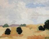 Landschaft Ölgemälde 9 x 12 Pamela Munger ländlichen Landschaft minimalistische Landschaft