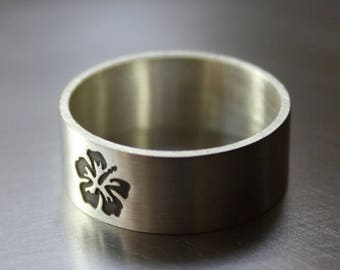 ON SALE TODAY Botanical Ring, Hibiscus Flower in Matte Finish