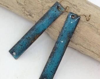 Artisan Enamel Components, Torch Fired Enamel, Blue Enamel Bars, Enamel Charms, Pendants, Connector Bars, Turquoise Blue Components, OOAK