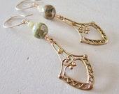 Ocean Jasper & Citrine Filagree Belle Fleur Earrings - Vintage Brass - Etsy Jewelry - catrocks - Grace and Frankie - Bronze Green